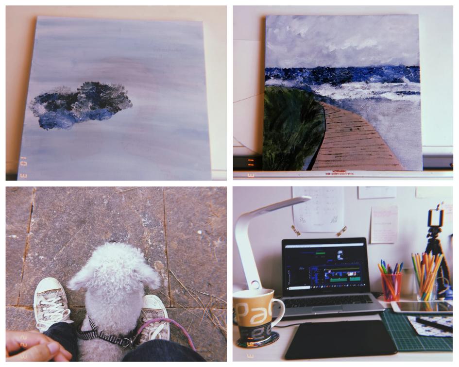Pintei minha primeira tela com tinta acrílica e fiquei apaixonada por esse material. Acabei comprando mais telas e vou trabalhar nelas nesse mês de Abril.