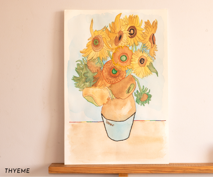 Aquarela-van-goh-sunflower